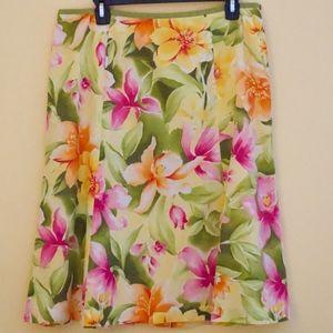 Talbots Floral A-Line Skirt
